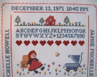 Cross Stitch Birth Announcement For A Girl