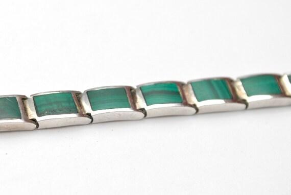 Sterling Malachite link Bracelet Green gemstone inlay   Silver  links