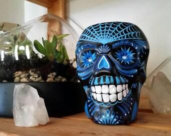 Hand painted dia de los muertos skull brush holder