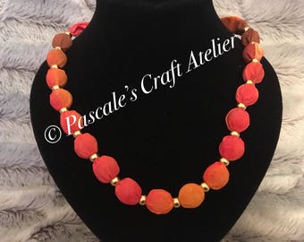Beautiful hand painted Orange / Yellow / Red / Brown Silk Necklace