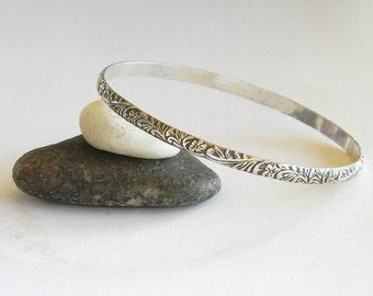 Solid Sterling Bangle Bracelet - Ornate Floral Bangle - Stacking Bangles - Simple Bracelet, Stacked Bracelet