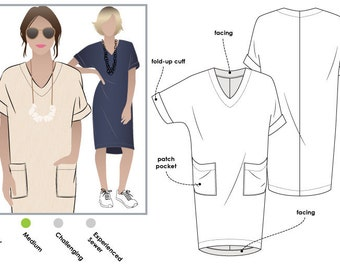 Style Arc Sewing Pattern - Adeline Dress - Sizes 10, 12, 14 - Women's Pull On Dress - PDF Sewing Pattern
