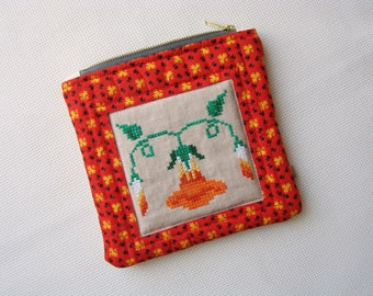 Zipper pouch, quilted pouch, quilted zipper pouch, cross stitch, recycled, hand embroidery, reclaimed fabric, unique pouch, cosmetic bag