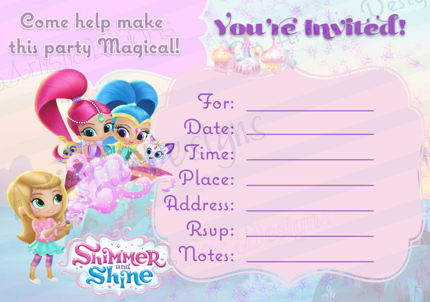 INSTANT DOWNLOAD Shimmer and Shine Fill in the Blank