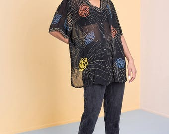 SHEER BLOUSE shirt black OVERSIZE vintage breezy easy top Colorful print women summer spring / Medium / better Stay together