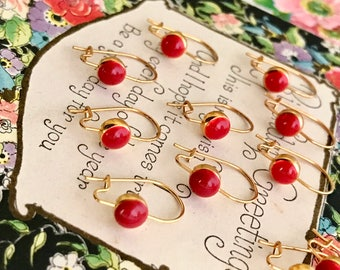 Vintage Earring Wires Kidney Ear Wires Gold Tone Earwires findings Red Enamel vintage findings, boho, retro findings #1376C