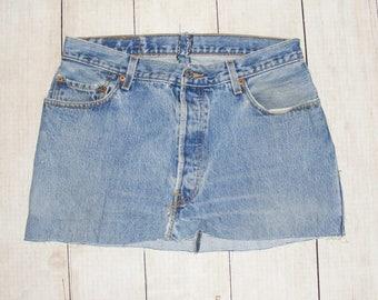 vintage 90s mini skirt, 90s clothing, size 14 skirt, denim skirt, reworked jeans, Levi skirt, cheap vintage skirt, faded blue denim skirt