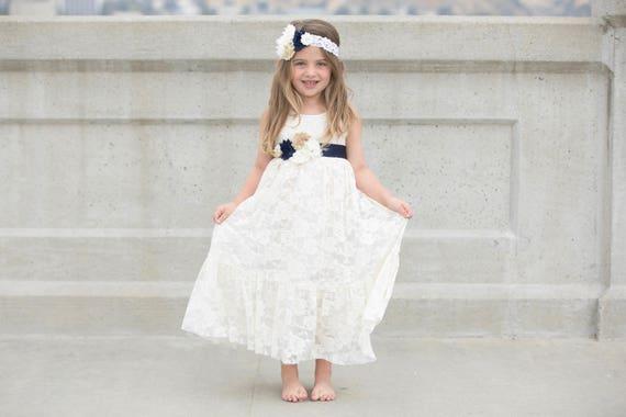 Navy blue and ivory lace flower girl dress flower girl mightylinksfo