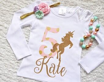 Pink and Gold Unicorn Birthday shirt, Personalized Birthday shirt, Birthday outfit, Girls Birthday Shirt, 4th Birthday outfit, Pink Gold