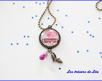 Necklace color Bronze cabochon happy mother's day