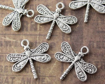 10 Dragonfly Charms Dragonfly Pendants Antiqued Silver Tone Double Sided 20 x 20 mm