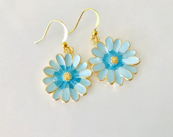 Enamel Daisy Earrings, Blue And Gold dangles, Spring Jewelry