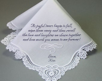 Wedding Handkerchief Embroidered to Mother of Bride Monogrammed Personalized Custom(Hankie #1702241)