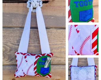 Baseball initial letter themed fairy pocket pillow- red, blue and white-select you letter