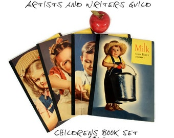 Vintage Childrens Readers - 1940 School Books - Artists and Writers Guild - Black and White Photography - Books About Food - Jane Dale - Set
