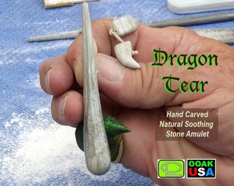 Stunning Dragon Tear calming amulet, hand carved from natural Dracocite stone