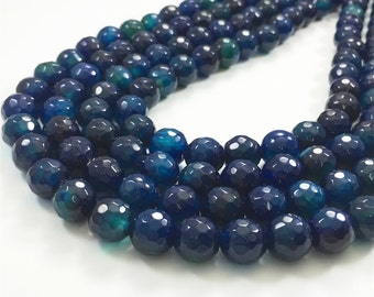 10mm Faceted Agate Beads, Agate Stone Beads, Gemstone Beads