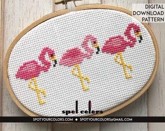 Pink Flamingo Trio Bird Counted Cross Stitch Pattern DIGITAL Download Beginner