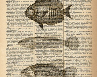 Dictionary Art Print - 3 Fish - Upcycled Vintage Dictionary Page Poster Print - Size 8x10