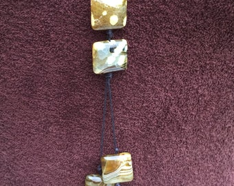 Gemstone jewellery, Square Agate Bead YNecklace 1.7, Warm Taupe Agate YNecklace, Spicy Mustard Gemstone YNecklace, U K gifts for her