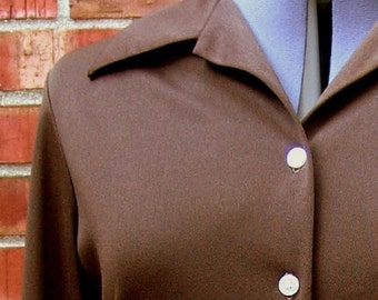 Vintage 1970's Chocolate Brown Shirt Blouse, Modern Size 12 Medium