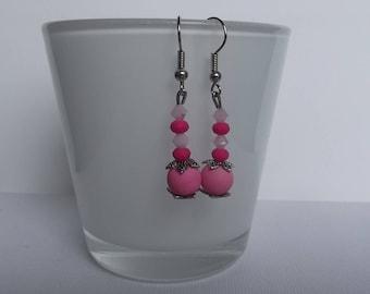 Pendientes de Swarovski rosa.