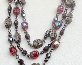BEN AMUN Vintage Necklace 3 Strand Red Aurora Borealis Glass Beads