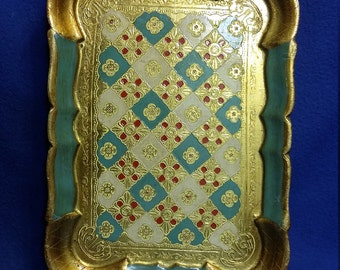 A Florentine Tole Wood Tray