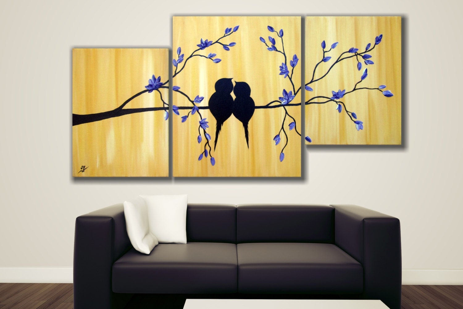 Purple and Gold Painting- Love Birds on tree blossom, triptych painting, canvas art, 40\