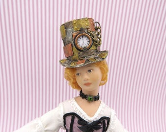 Steampunk faux metal top hat in 1:12 scale