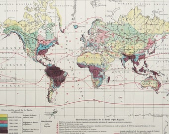 1900 Antique World Map of METEOROLOGY, PRECIPITATIONS. Climate map. Weather. Physics. Rain. 118 years old chart