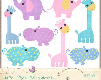 Cute animals Clip Art. Pastels animals - commercial use OK, Clip are hippo, Clip art giraffe. Elephant. Textured scrapbook embellishments.