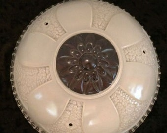 Antique Art Deco glass ceiling light Shade White Frosted And Clear 1920s