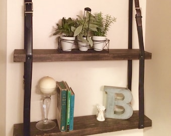 Upcycled Shelves with Leather Belt Straps