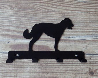 Irish Wolfhound Silhouette Key Hook Rack - metal wall art