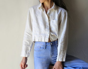 Cropped Linen Blouse, Lightweight Jacket, S M
