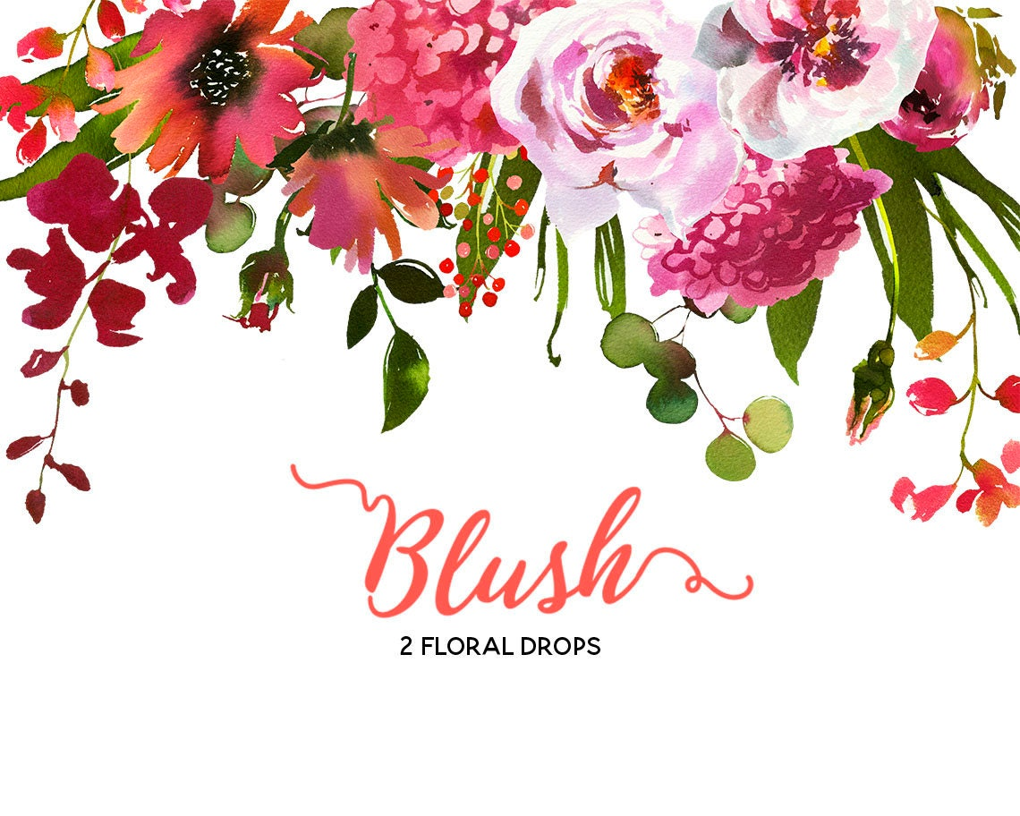 Pink peach coral flowers peonies roses watercolor floral drop zoom mightylinksfo Image collections