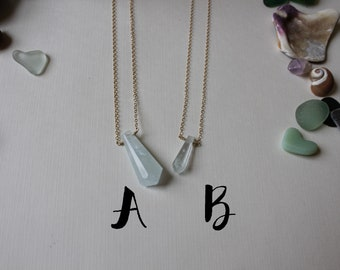 Gold Filled Aquamarine Crystal Point Necklace