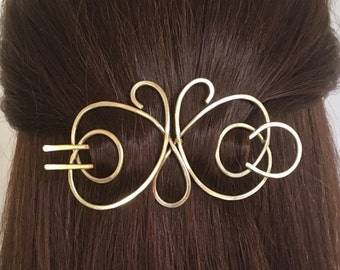 Butterfly Hair Barrette Brass Hair Bun Holder Gold Hair Fork U Shaped Hair Pin Hair Clip Long Hair Accessory