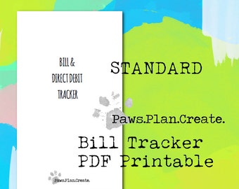 Bill Tracker Standard Size Travelers Notebook Insert PRINTABLE