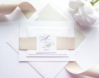 Champagne Wedding Invitation, Beige Wedding Invitations, Taupe, Tan, Classy Wedding Invitation, Classic, Traditional - SAMPLE SET