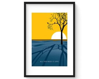 All You Need Is Love - Giclee Print - Modernist Minimalist Illustration