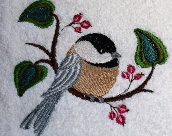 Chickadee Towel - Bird Towel - Embroidered Towel - Flour Sack Towel - Hand Towel - Bath Towel - Apron - Fingertip Towel