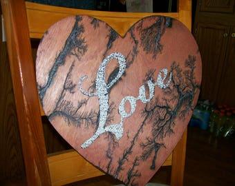 Lichtenberg Heart Shaped Love Plaque