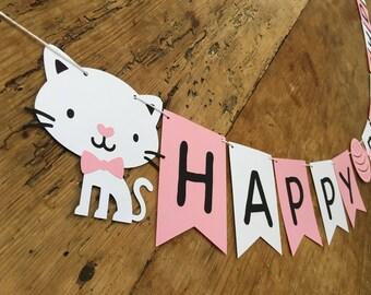 Kitty Happy Birthday Banner/Cat/Kitten