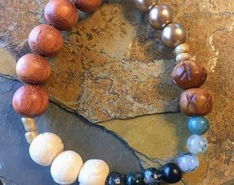 Bone and Wood Beaded Elastic Bracelet