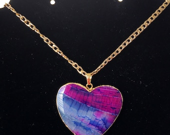 Hot Pink & Blue Fire Heart Agate Pendant Necklace, Gold Plated Heart Necklace, Heart Agate Necklace, Mother's Day Gift