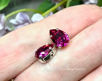 Fuchsia Pink, Vintage Swarovski Crystal, 2 Pcs, 10x7mm Pear 4320, With Prong Setting, Crystal Sew On,Rhinestone Setting, Jewelry Making