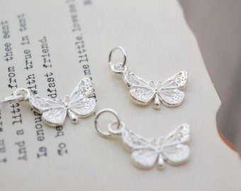 3 pcs sterling silver butterfly charm pendant