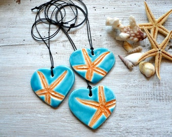 Necklace turquoise ceramic pendant with starfish summer sea holidays simple elegant necklace necklace original love of nature